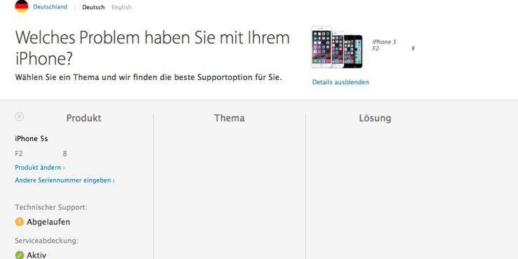 Auf einer speziellen Service-Seite lässt sich herausfinden, ob das eigene iPhone für den technischen Support qualifiziert ist.