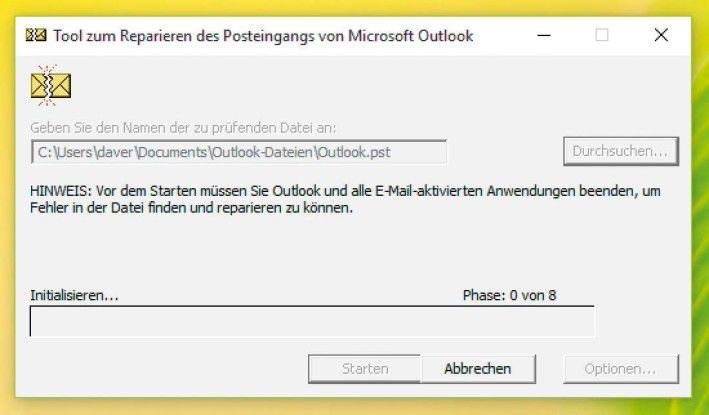 Nach dem Start verlangt Scanpst die Angabe der PST-Datei von Outlook und beginnt dann mit der Reparatur der Dateistruktur.