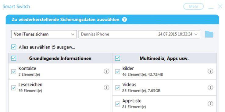 Mit der Samsung-eigenen Software Smart Switch übertragen Sie Daten anderer Betriebssysteme auf ein Galaxy-Smartphone