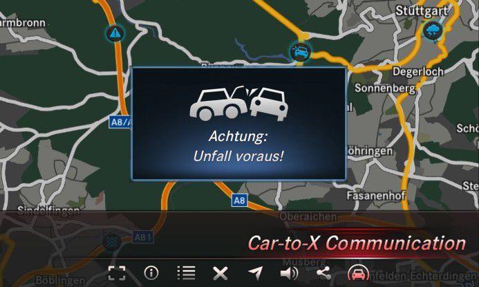 Die Connected Carrs kommunizieren per V2X und X2X miteinander.