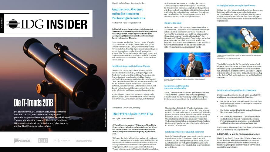 "Der IDG Insider ""IT-Trends 2018""."