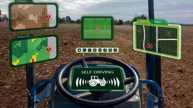 So könnte Digital Farming aussehen: Selbstfahrende landwirtschaftliche Maschinen, die ihre Route aufgrund von aktuellen Analysen erhalten.