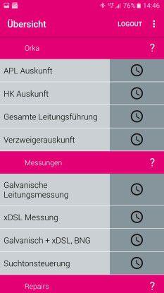 """Mit der """"Mess-App"""" können die Techniker ganz diverse Messungen für einen Anschluss durchführen."""