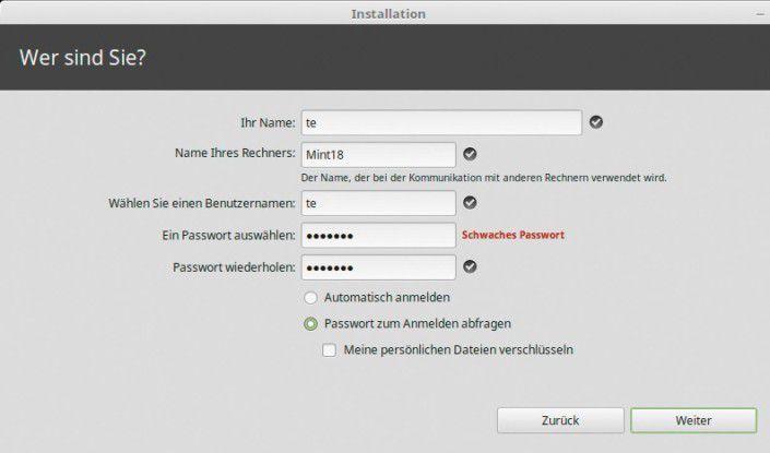 Hier können Sie zwischen der Anmeldung mit oder ohne Passwort wählen.