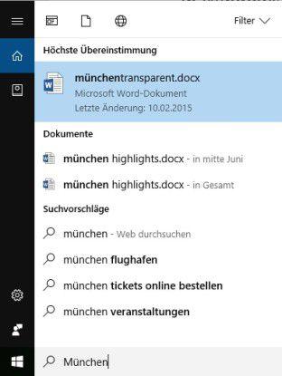 Die Desktop-Suche von Windows listet Dokumente, Weblinks und, falls vorhanden, auch Apps in ihrer Trefferliste auf. Die Rubriken lassen sich schnell erweitern.