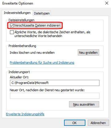 In den erweiterten Optionen können Sie die Volltextsuche sogar für verschlüsselte Dateien aktivieren. Sie bremst allerdings sowohl die Indexerstellung als auch die Suche aus.