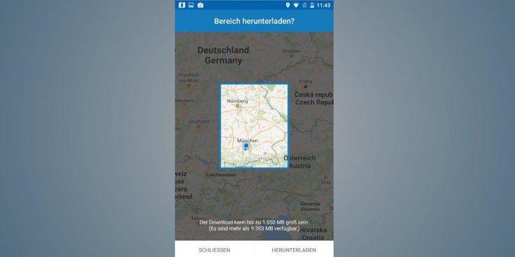 Google Maps: Wählen Sie mithilfe des Auswahlvierecks den Kartenbereich aus, den Sie auf Ihr Smartphone downloaden wollen.