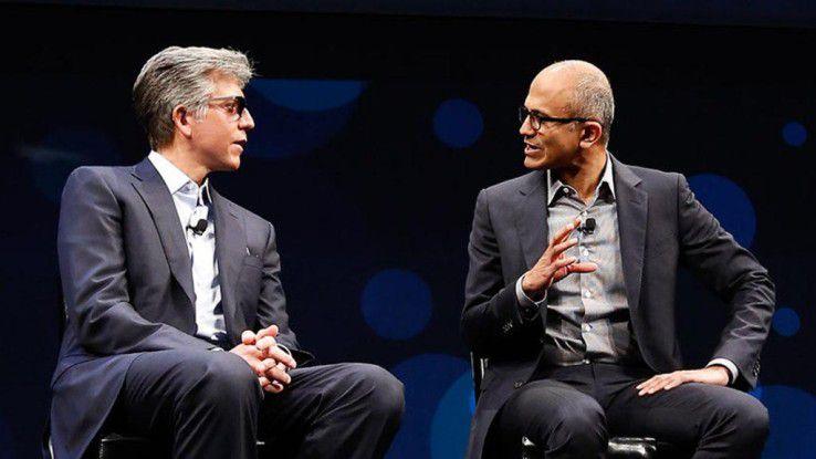SAP-Vorstandssprecher Bill McDermott (li.) und Microsoft-CEO Satya Nadella sind ziemlich beste Cloud-Freunde.