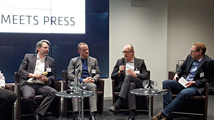 Straub, Quellmalz, Schnedermann und Miedl (v.l.n.r.) diskutierten: Wie gut sind deutsche Unternehmen auf die DSGVO vorbereitet?