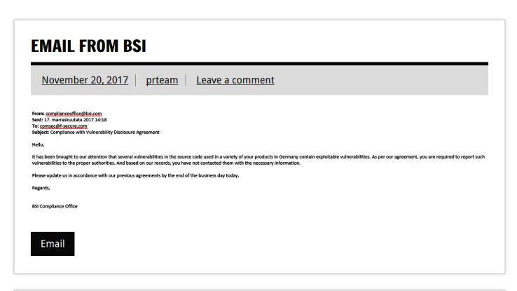 """Post vom BSI: Die F-Secure """"Live Security""""-Experience ließ kein kopfschmerzenbereitendes Detail eines echten """"Hackerbefalls"""" aus."""