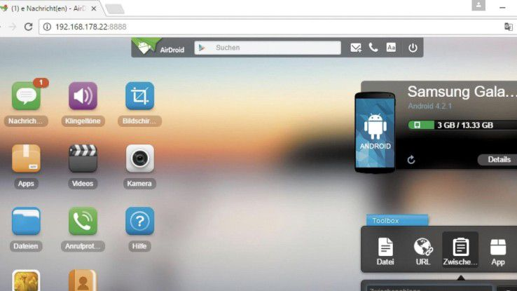 Mit der App Airdroid auf dem Smartphone können Sie über einen Rechner auf das Android-Gerät zugreifen.