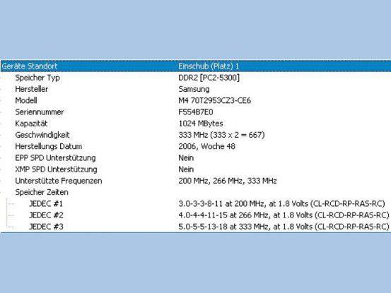 Das Tool SIW liefert alle nötigen Infos zu Ihrem Notebook-Speicher. Die letzte Zeile zeigt die Latenzzeiten des Speichers bei der Taktrate 333 MHz an. Diese Ziffernfolge sollte auch der neue Speicherriegel tragen.