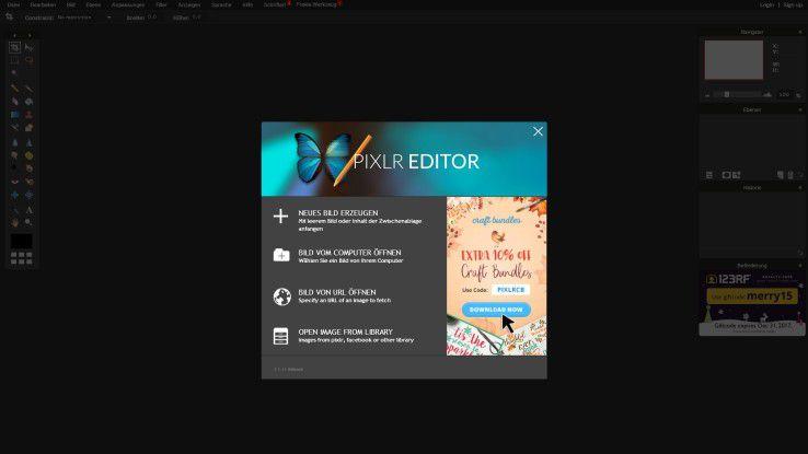 Bilder kostenlos online bearbeiten mit Pixlr Editor.