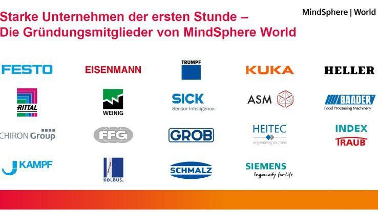 Neben Siemens zählen 18 Gründungsmitglieder zur MindSphere World.