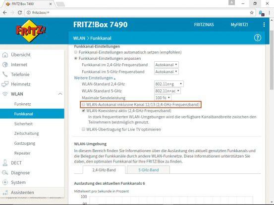 Deaktivieren Sie die automatische Verwendung der Kanäle 12 und 13 durch die Autokanal-Funktion der Fritzbox. Auf diese Weise vermeiden Sie Anschlussprobleme mit US-amerikanischer oder japanischer Hardware.