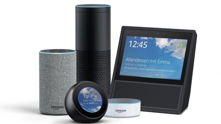 Amazons Echo-Familie. Echo 2. Gen., Echo Plus, Echo Spot, Echo Dot und Echo Show.