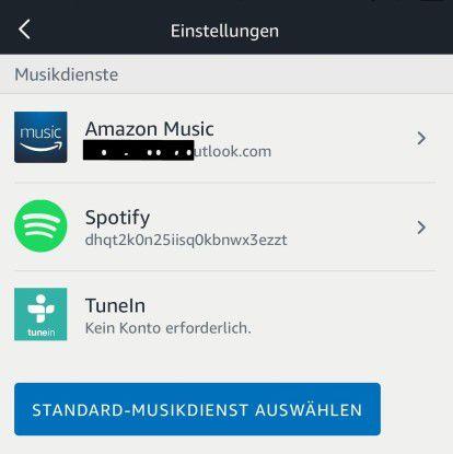 An Alexa Echo können verschiedene Musikdienste angebunden werden.