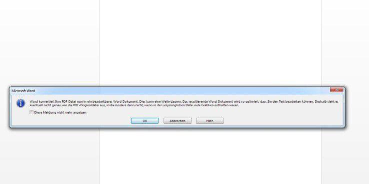 Dialogfenster: In das Wordformat konvertieren; klicken Sie auf OK. Dann heißt es warten.