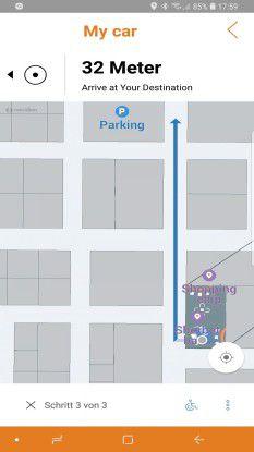 Die Aruba-App weist Kunden den Weg - im Laden zu bestimmten Artikeln und zum Parkplatz, wenn man das Auto im unübersichtlichen Einkaufszentrum nicht mehr findet.