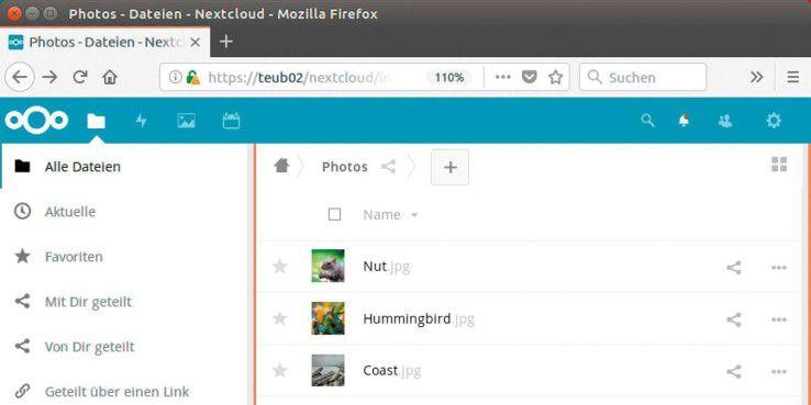 Cloudserver: Nextcloud bietet eine übersichtliche Weboberfläche.