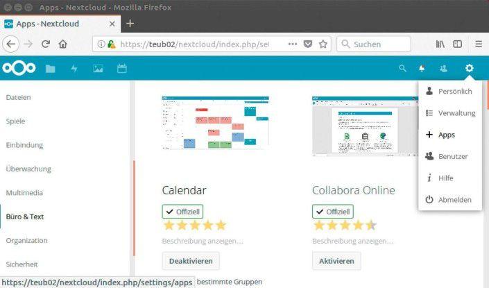 Zusätzliche Plug-ins für Nextcloud, z.B. ein Online-Terminkalender.