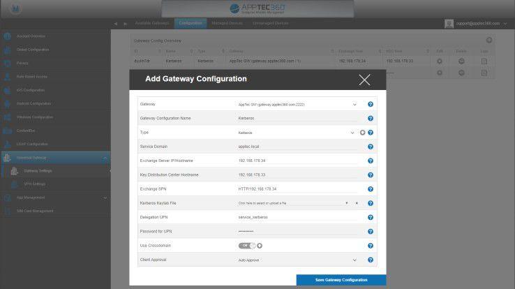 Über die EMM-Konsole wird dem Gateway die gewünschte Konfiguration hinzugefügt. Darin ist die Verbindung zum Exchange-Server spezifiziert. Im Bild ist die Kerberos-Option gezeigt.