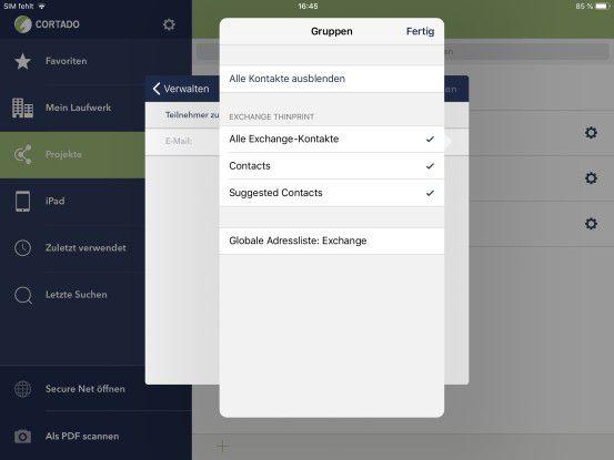 Zugriff auf Kontakte gemanagter App
