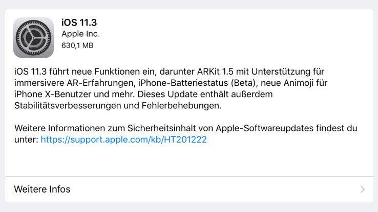 Das Software-Update iOS 11.3 bringt zahlreiche neue Features