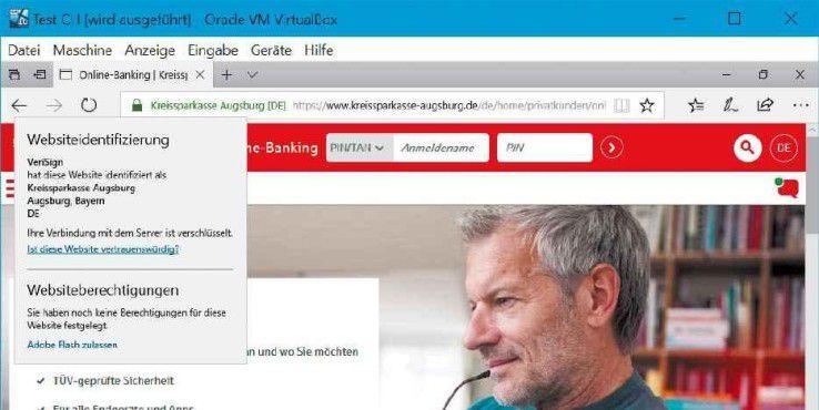 Das Zertifikat gibt Aufschluss darüber, ob die Webseite tatsächlich von Ihrer Bank betrieben wird.