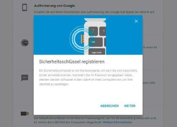 Haben Sie den Sicherheitsschlüssel in Ihrem Google-Konto aktiviert, müssen Sie ihn für eine Anmeldung bei einem Google-Dienst, etwa Gmail oder Google Kalender, in den USB-Anschluss des Rechners stecken.