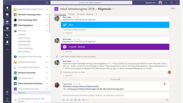 Outlook, Sharepoint und Skype treten in den Hintergrund ...
