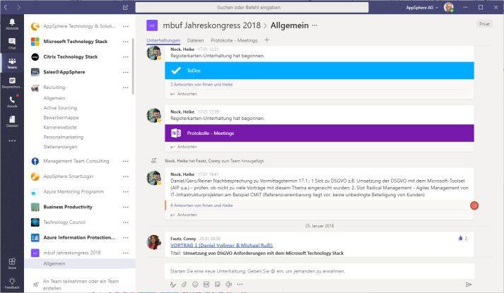 Die Oberfläche von Microsoft Teams.
