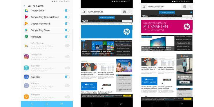 Vollbild-Apps sehen schicker aus als mit schwarzem Balken