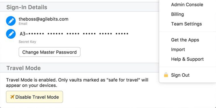 Der Travel Mode löscht andere Passwortspeicher vom Gerät
