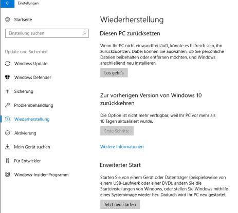 Aus Windows 10 heraus im abgesicherten Modus starten.