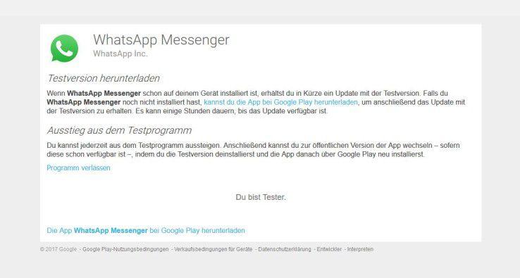 Als Beta-Tester erhalten Sie früher neue WhatsApp-Funktionen über die Beta-App aus dem Google Play Store