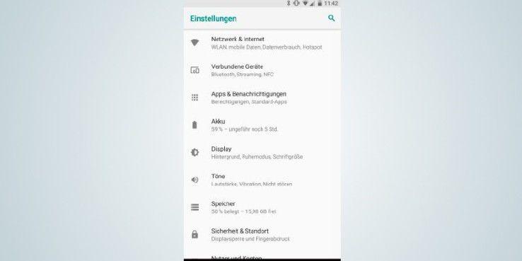 Google hat die Einstellungen von Android 8 komplett überarbeitet und die Menüeinträge deutlich verringert.
