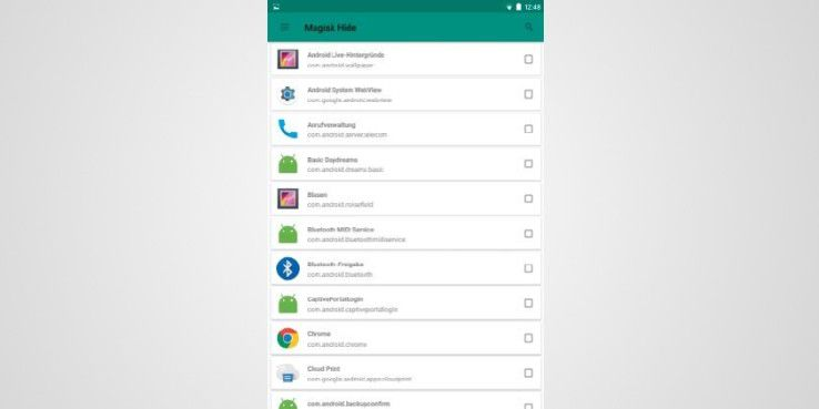 """Mithilfe der Funktion """"Magisk Hide"""" wählen Sie die Apps aus, vor denen Sie die Root- Rechte verstecken möchten."""