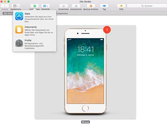"""Mit der Option """"Hinzufügen"""" kann man Apps auf ein iOS-Gerät übertragen."""