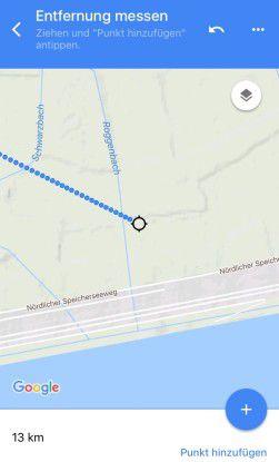 Entfernung messen: Jetzt sind es 13 Kilometer zwischen Start- und Endpunkt.