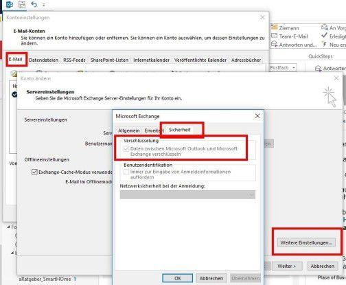 """In Outlook aktivieren Sie die Verschlüsselung unter """"Datei, Kontoeinstellungen, Doppelklick auf Ihr Kontonamen, Weitere Einstellungen, Sicherheit""""."""