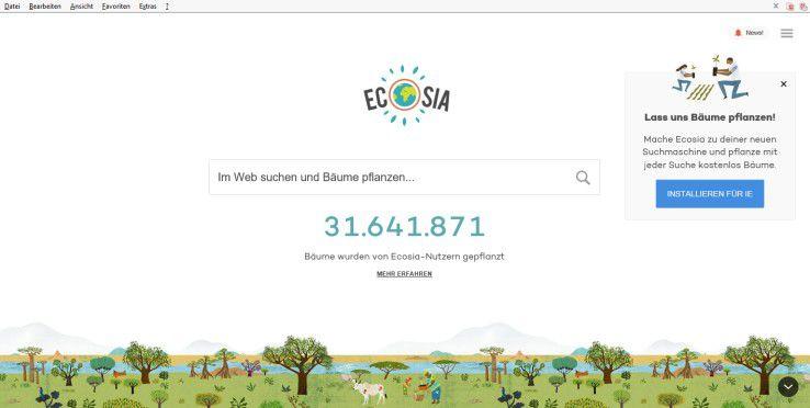 Ecosia spendet einen Teil der Umsätze an Naturschutzprojekte.