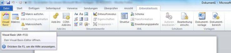 Entwicklertools von Microsoft Word