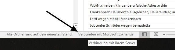 Outlook zeigt seinen Verbindungszustand unten im Fenster an.