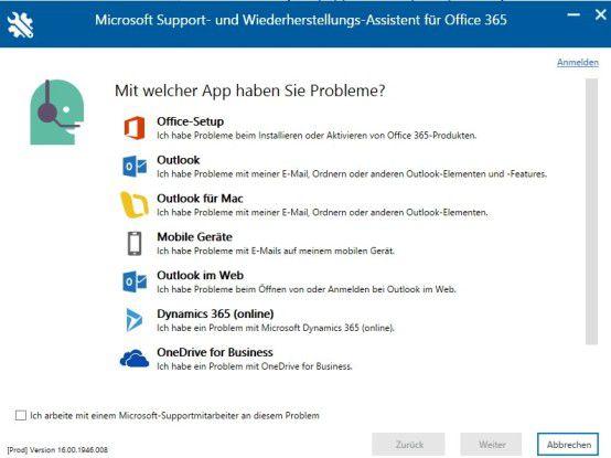 Microsoft bietet mit dem Microsoft Support- und Wiederherstellungs-Assistenten für Office 365 ein Tool an, das bei der Problemlösung für Outlook hilft.