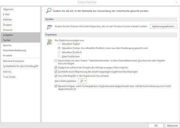 Konfigurieren der Suche in Outlook