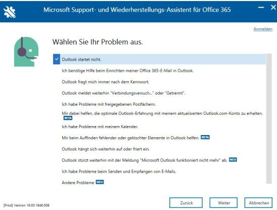 """Versand-Probleme von E-Mails lassen sich mit dem """"Microsoft Support- und Wiederherstellungs-Assistenten für Office 365"""" beheben."""