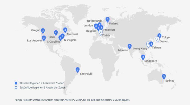Google baut die Standorte seiner Google Cloud Plattform (GCP) weiter aus.