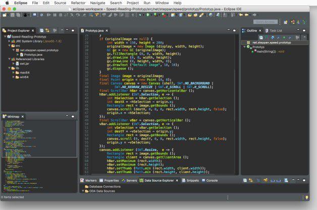 Die Minimap (im Screenshot links unten) verschafft dem Entwickler besonders bei sehr langen Klassen mehr Überblick.