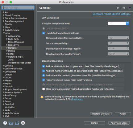 Mittels des Marketplace ist es zwar möglich, eine Erweiterung für Java 11 zu installieren. Wie im Screenshot zu sehen, lassen die Compiler-Optionen trotz dieser Erweiterung maximal Java 10 zu.